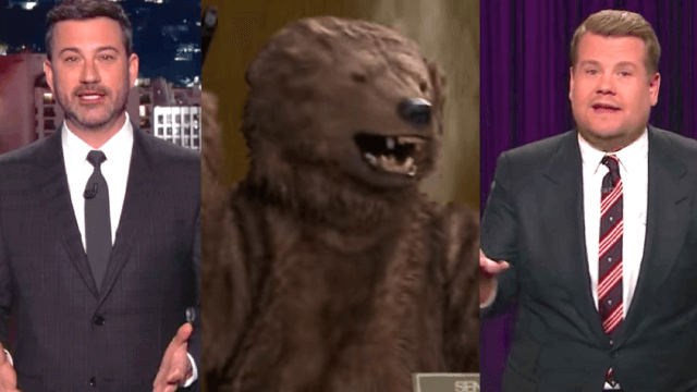 Late night hosts had a field day with Betsy DeVos's grizzly bear comments.