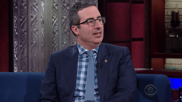 John Oliver tells Stephen Colbert he's 'slightly concerned' about his green card under Trump.