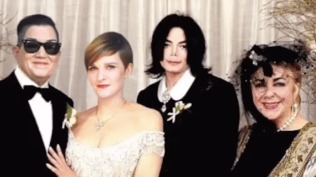If you're going to announce your split, do it with a picture with Liz Taylor and Michael Jackson.