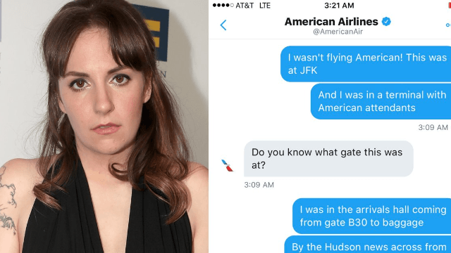 Lena Dunham called out two flight attendants on Twitter and the airline ended up thanking her.