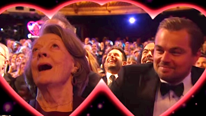 Leonardo DiCaprio and Dame Maggie Smith got caught on kiss cam and won Valentine's Day.