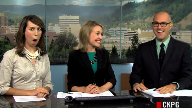 Let this awkward video serve as an example of why newscasters shouldn't make jokes.