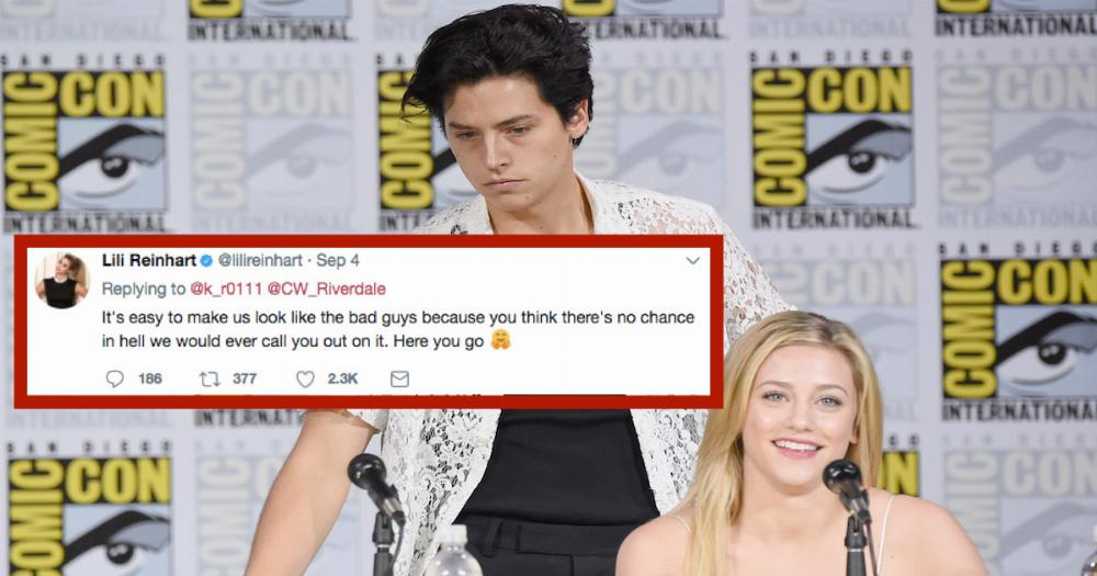 Lili Reinhart dragged a fan who was rude to Cole Sprouse on Twitter.