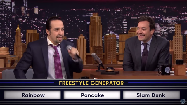 The creator of Broadway's 'Hamilton' freestyle battled on 'The Tonight Show.' Fallon couldn't even deal.