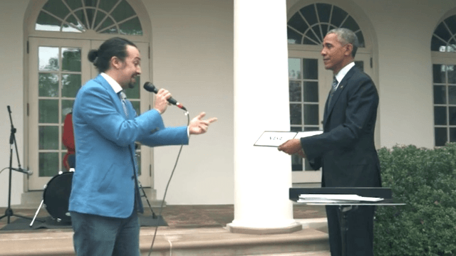 'Hamilton' star Lin-Manuel Miranda freestyle rapped with Obama, because he's no longer running for office and why not.