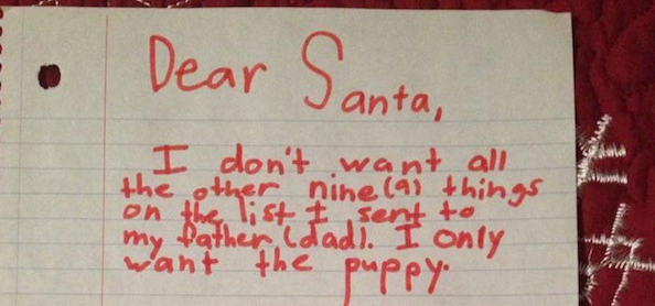 Little girl's letter to Santa explains she really only cares about the puppy.