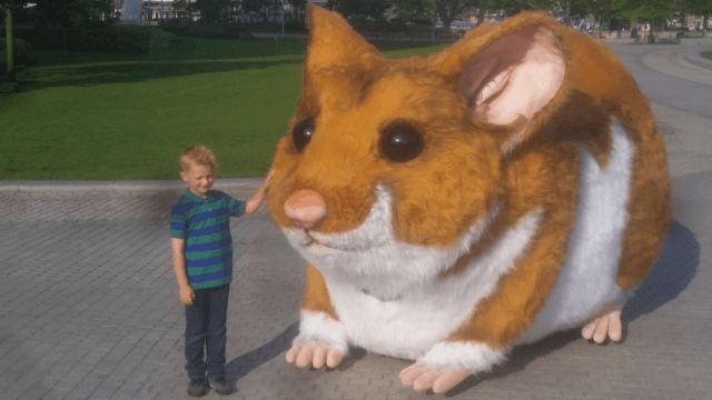 People in London are freaking out over the giant hamster driving around their city.