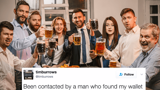 Guy finds out strangers have been holding a drinking contest in his honor for 14 years.
