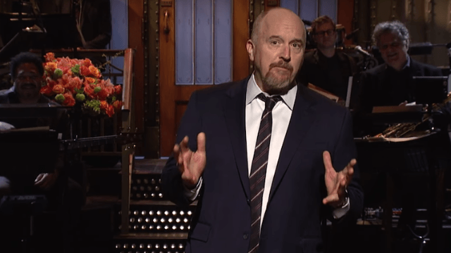 Louis C.K. calls out racist chickens and hates on fancy hotels in his opening monologue for 'SNL.'