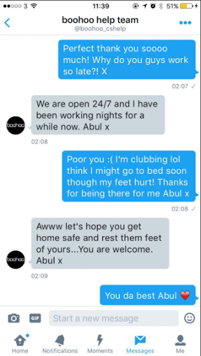 Drunk woman has hilarious Twitter exchange with an extremely helpful customer service rep.