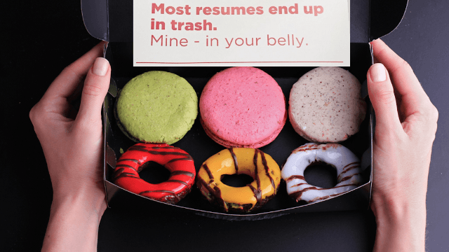 Marketing pro went undercover as a delivery man to sneak in his resume in a box of donuts.