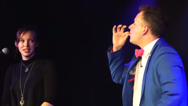 Magician proposes to his girlfriend by spitting up alphabet soup, and it's way cuter than that sounds.