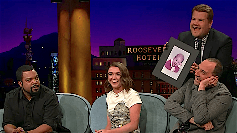 Maisie Williams and Tony Hale shared their very goofy baby pictures with a fawning James Corden.