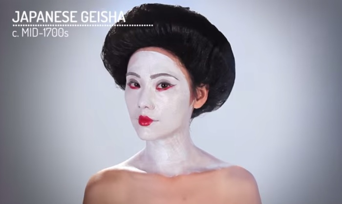 This video shows women have done strange things with makeup since the beginning of time.