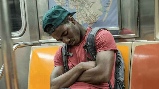 Guy falls asleep on the New York subway, wakes up to find he's made a cuddly little friend.