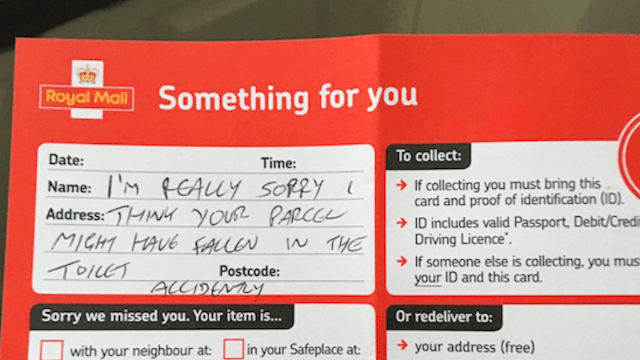 Man discovers that mail carrier has dropped off his package in the worst possible place.