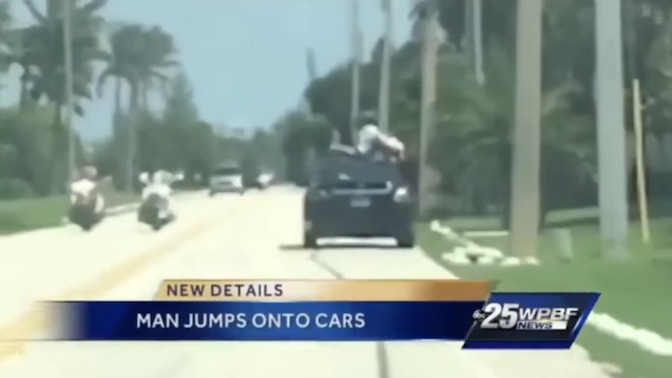 Hopefully crystal meth can explain why this crazy guy jumped on top of moving cars and asked to be let in.