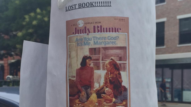 Man throws away wife's treasured Judy Blume book, Judy Blume takes over search-and-rescue operation.