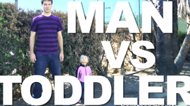 Man faces off against toddler in a fierce competition of skill, strength and wits.