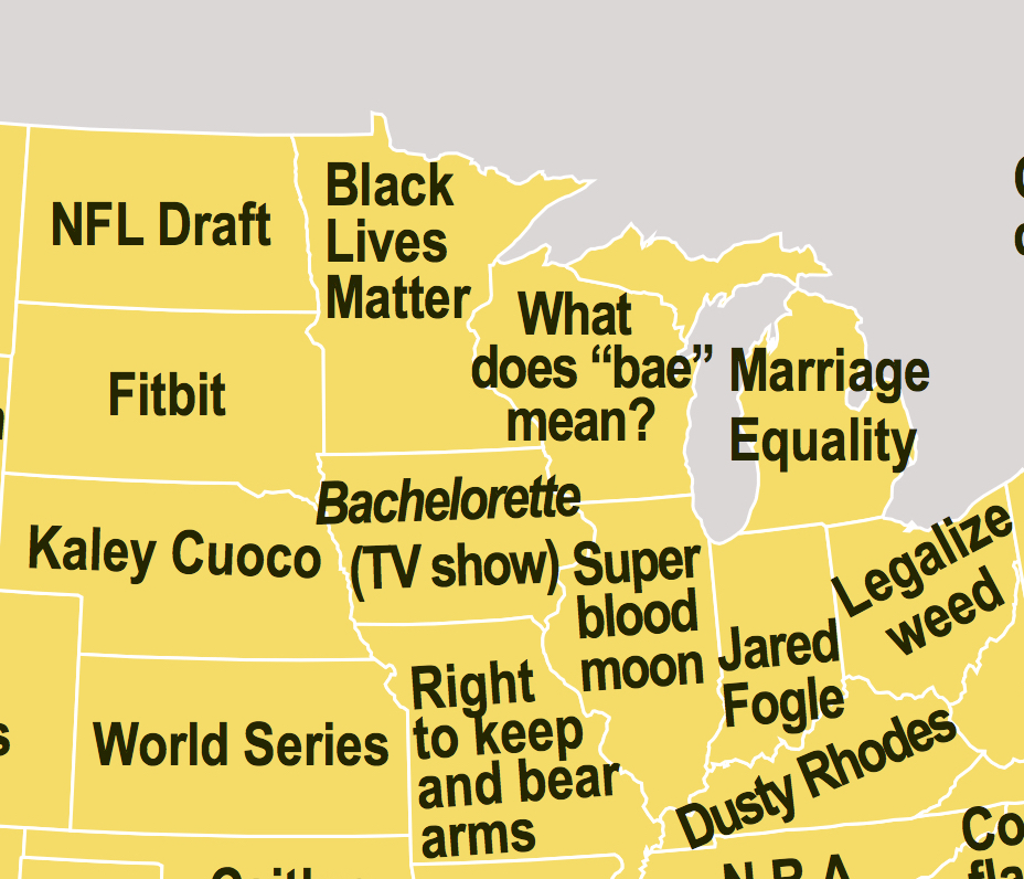 Map showing what each state Googles more than any others reveals our secret desires.