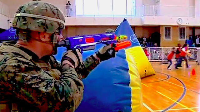 The Marines had a pitched Nerf battle against schoolchildren and took it very seriously.