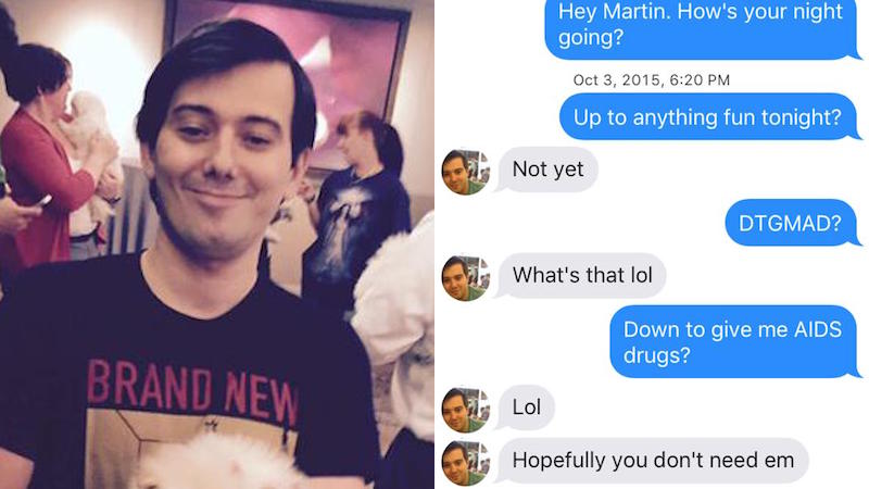 Hero woman gets Tinder-matched with the AIDS drug guy, calls him out on his douchebaggery.