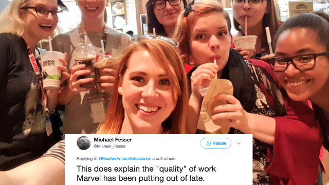 Marvel editor can't even post a selfie with her coworkers without dealing with some sexist bullsh*t.