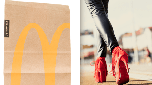 This going out hero ditched her heels to wear McDonald's bags for shoes during a night on the town.