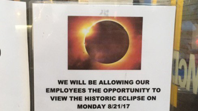 McDonald's 'rewards' employees with a hilariously short break to watch the solar eclipse.