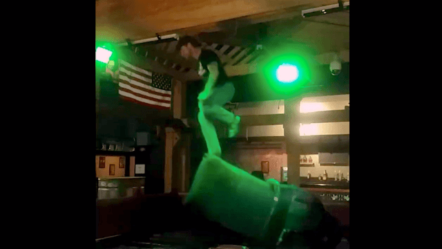 If you need a new spirit animal, consider this guy busting a move atop a mechanical bull.