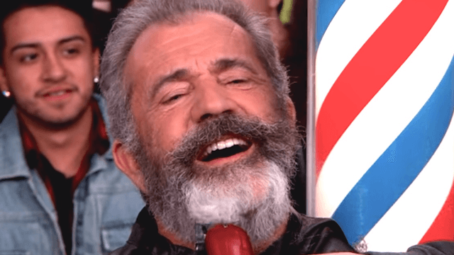 Mel Gibson let a random pedestrian shave off his beard on live TV.