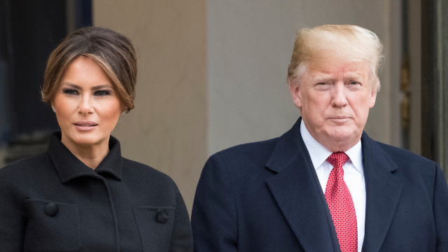 Melania Trump rejects Donald's attempt to grab her by the hand. Guess he can't do 'anything.'
