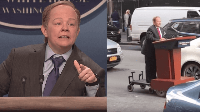 Melissa McCarthy was spotted riding through New York City on Sean Spicer's podium.