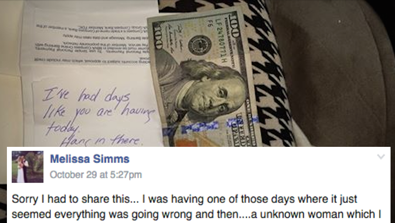 This mom is looking for the woman who passed a note to her son and made their day.