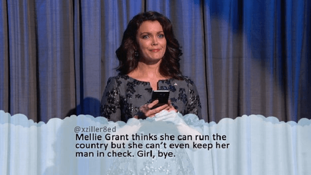 Mellie Grant reads Mean Tweets on a fake 'Jimmy Kimmel Live' in a real episode of 'Scandal.'