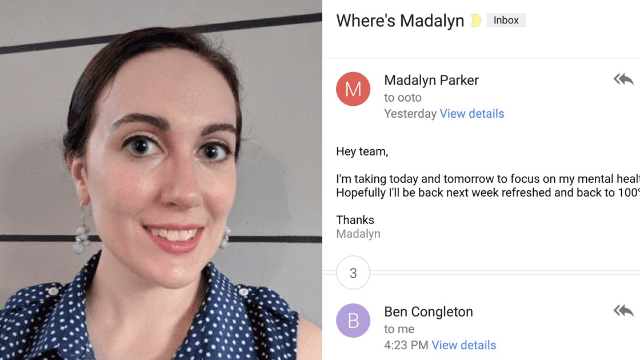 Woman takes mental health day in company-wide email. Her boss is into it.