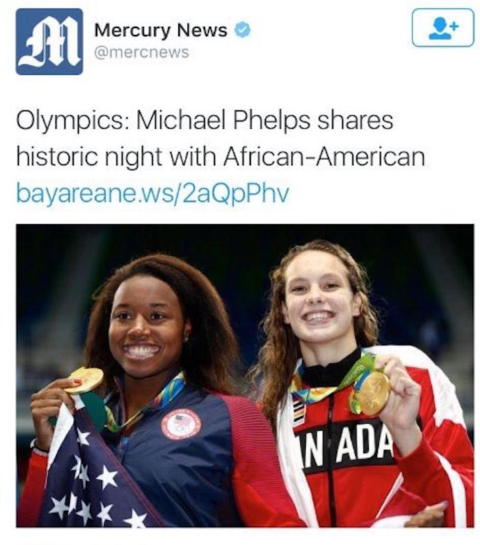 Newspaper uses boneheadedly offensive headline to report Simone Manuel's historic gold medal win.