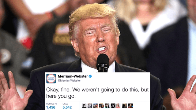 'The Merriam-Webster Dictionary' couldn't resist trolling Donald Trump over his latest typo.