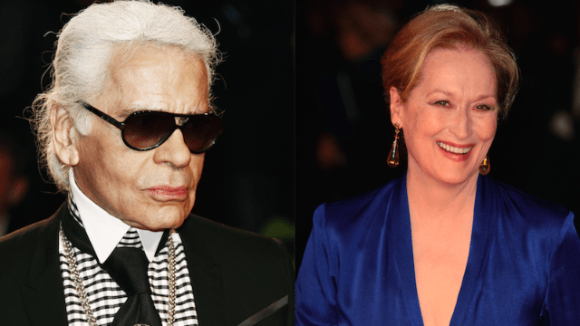 Meryl Streep and fashion designer Karl Lagerfeld are feuding over her Oscars dress.