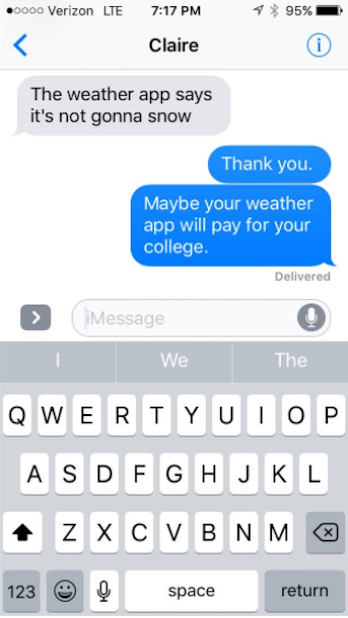 Meteorologist dad owns daughter in text exchange after she doubts his prediction.
