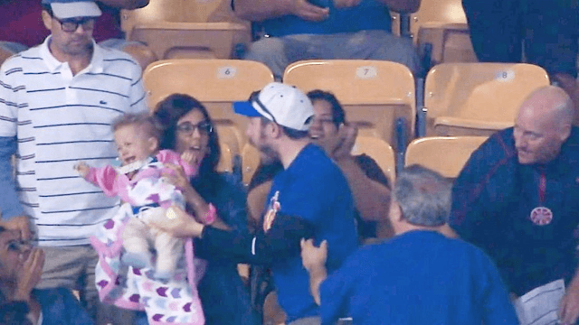 Baseball fan almost drops his baby to catch foul ball, may no longer be married.