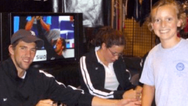 Michael Phelps and Katie Ledecky recreated their adorable autograph photo from 10 years ago.