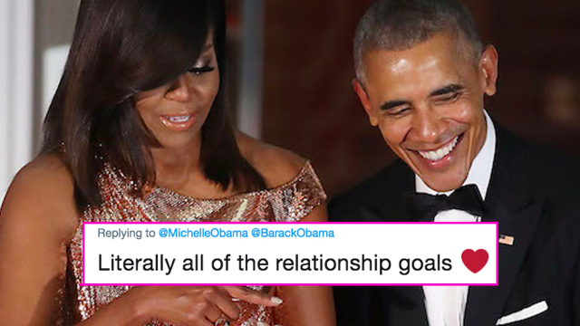 Michelle wishes Barack Obama happy birthday with two perfectly joyful throwback photos.