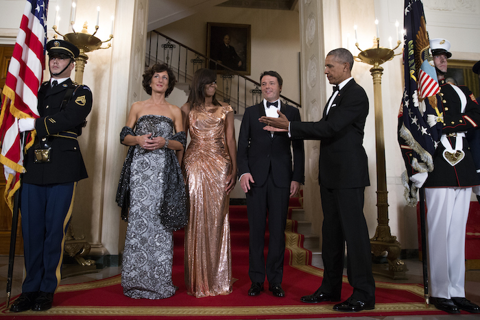 President Obama presenting the star of the evening, his ever lovely wife Michelle.