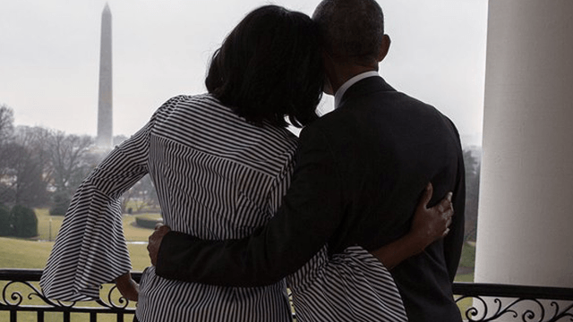 Michelle Obama tweets some very charming PDA for her husband as they leave the White House.