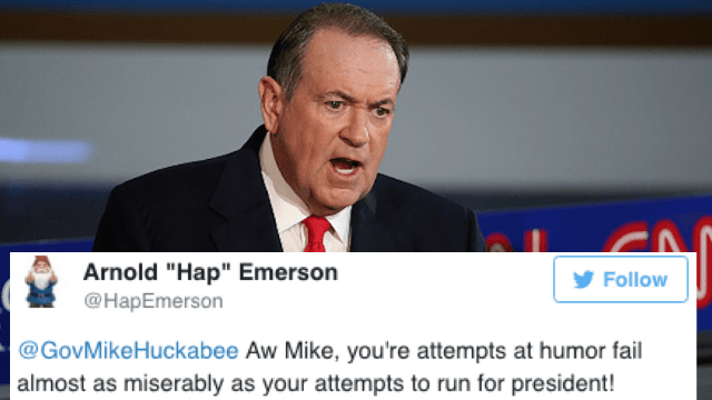 Twitter barbecues Mike Huckabee over his awful and offensive Cinco de Mayo joke.
