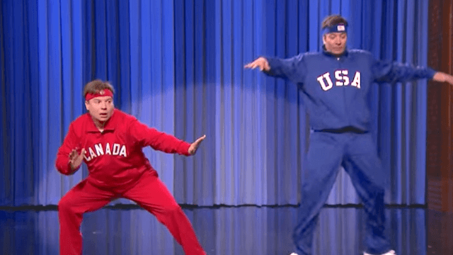 Mike Myers and Jimmy Fallon compete in a hilarious USA vs Canada dance-off.