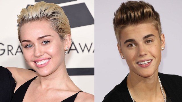 Miley Cyrus celebrates Justin Bieber's birthday by reminding us they've got identical faces.