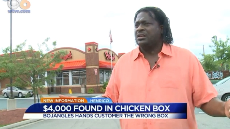 Hilariously inept Bojangles' staff replaces man's cold fried chicken with $4500.
