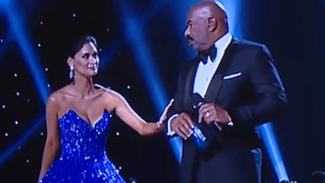 Miss Universe gets revenge on Steve Harvey by lovingly trolling him.